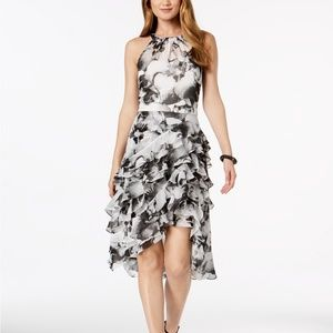 MSK Floral-Print Ruffle Dress Black/White Size 6